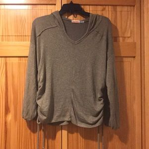 Olive green hoodie with ruching on both sides